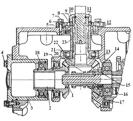 Схема конической передачи с реверсом трактора Т-40